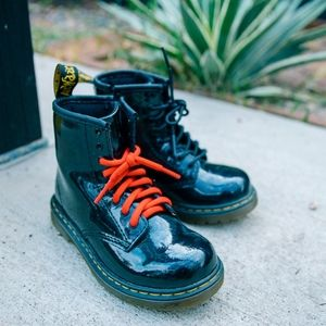 Dr Marten black leather shiny boots